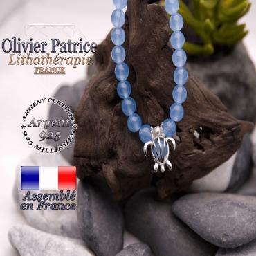 Bracelet jade bleu cage tortue argent 925