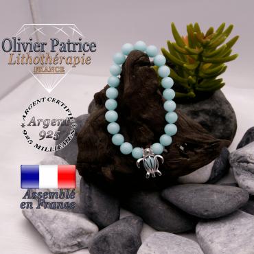 Bracelet jade bleu cage tortue en argent 925