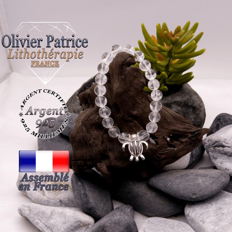 Bracelet cristal de roche cage tortue argent 925