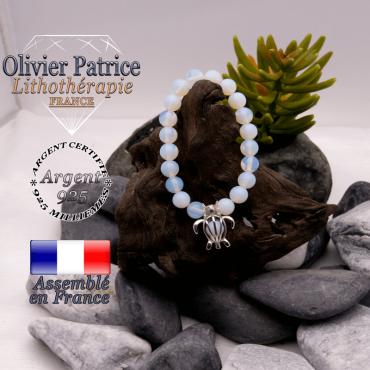 Bracelet opale et sa cage tortue en argent 925