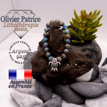 Bracelet agate à dentelle bleue cage tortue argent 925