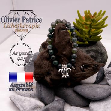 Bracelet agate mousse cage tortue argent 925