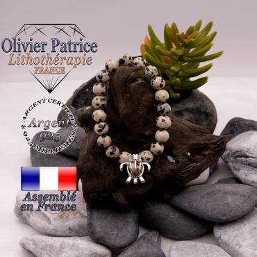 Bracelet jaspe dalmatien cage tortue en argent 925