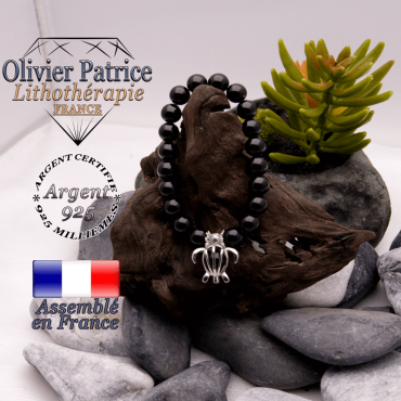 Bracelet obsidienne œil céleste cage tortue argent 925