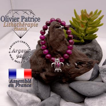 Bracelet Œil de Tigre teinte violette cage tortue argent 925