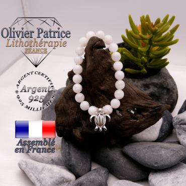 Bracelet pierre de lune cage tortue en argent 925