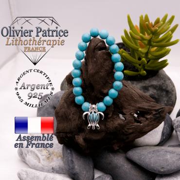 Bracelet turquoise et sa cage tortue argent 925