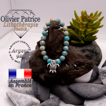 Bracelet agate dentelle cage tortue argent 925
