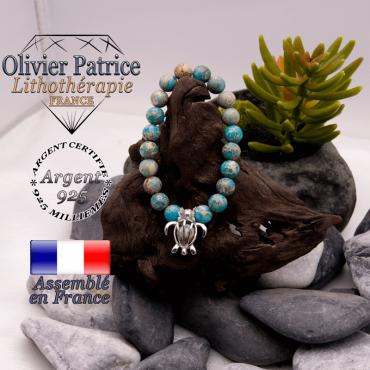 Bracelet jaspe impérial bleu turquoise cage tortue argent 925