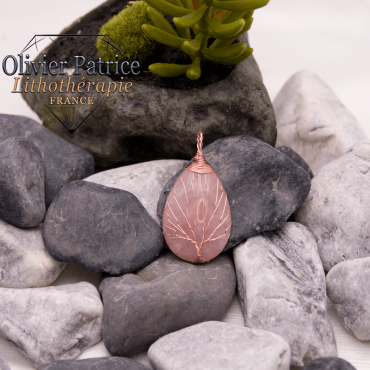 Pendentif arbre de vie quartz rose en alliage