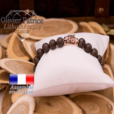Bracelet obsidienne neige brune tête de léopard dorée alliage