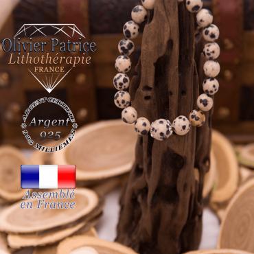 Bracelet jaspe dalmatien et sa grande boule entourée d'argent 925