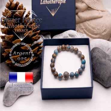 Bracelet agate à dentelle bleue et sa grande boule entourée d'argent 925