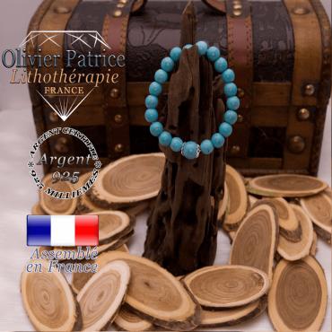 Bracelet turquoise et sa grande boule entourée d'argent 925