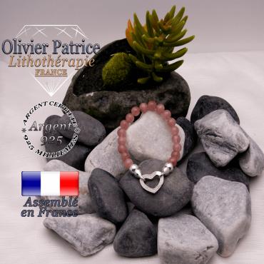 Bracelet quartz fraise avec son fermoir coeur en argent 925