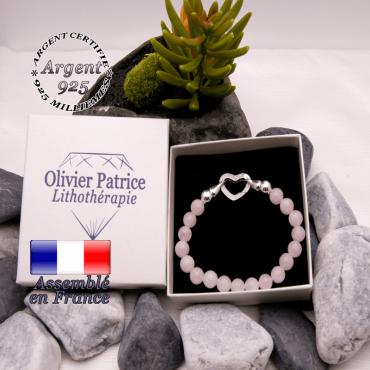 Bracelet quartz rose avec fermoir coeur en argent 925
