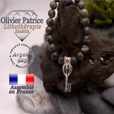 Bracelet jaspe zèbre vert cage clé argent 925