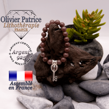 Bracelet de quartz raisin et cage clé en argent 925