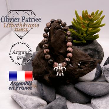 Bracelet rhodonite et cage tortue argent 925