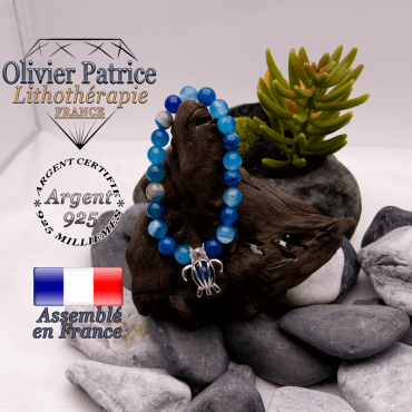 Bracelet agate à bandes bleues cage tortue argent 925