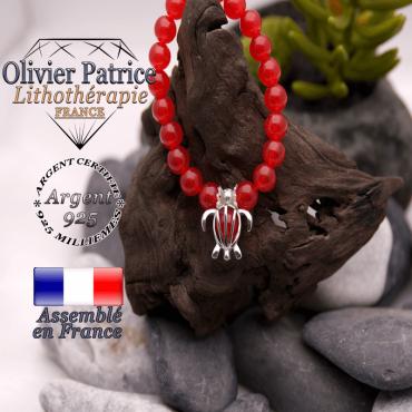 Bracelet agate rouge cage tortue en argent 925