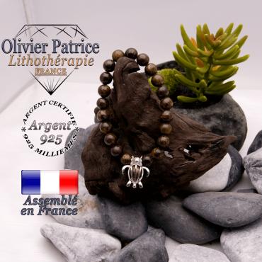 Bracelet bronzite cage tortue en argent 925