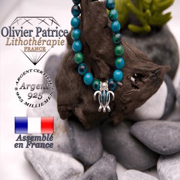 Bracelet chrysocolle cage tortue en argent 925