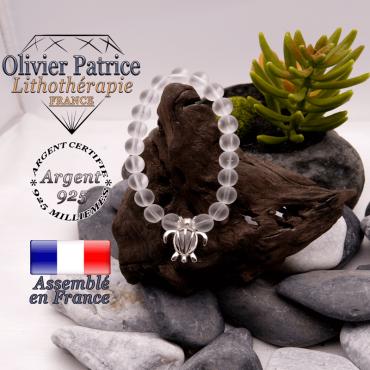 Bracelet cristal de roche opaque cage tortue en argent 925