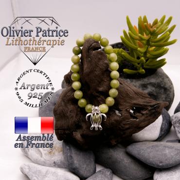 Bracelet jade néphrite du Canada cage tortue en argent 925
