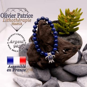 Bracelet lapis lazuli cage tortue en argent 925