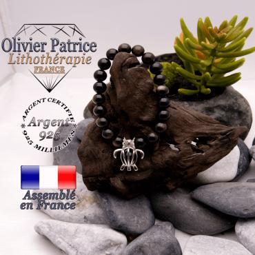 Bracelet obsidienne dorée et cage tortue en argent 925