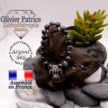 Bracelet obsidienne neige et cage tortue en argent 925