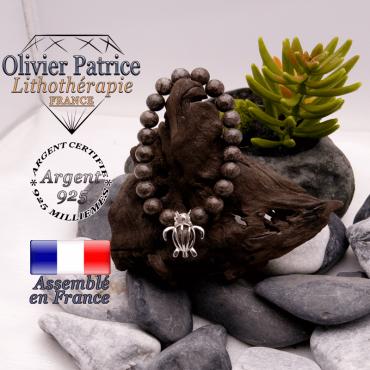 Bracelet obsidienne neige brune et cage tortue en argent 925