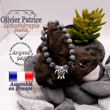 Bracelet pierre d'aigle et cage tortue en argent 925