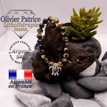 Bracelet Œil de faucon et cage tortue en argent 925