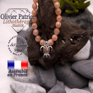 Bracelet pierre de soleil et cage tortue en argent 925