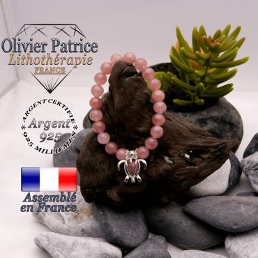 Bracelet quartz fraise et sa cage tortue en argent 925