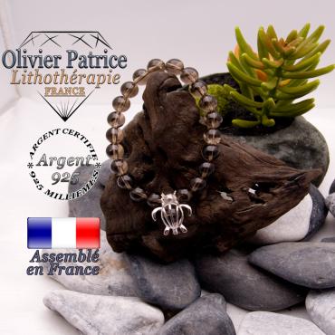 Bracelet quartz fumé et sa cage tortue en argent 925