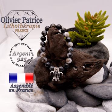 Bracelet sardonyx et sa cage tortue en argent 925