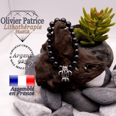 Bracelet tourmaline noire et cage tortue en argent 925