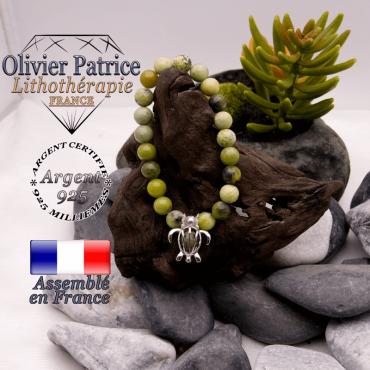 Bracelet turquoise africaine et sa cage tortue en argent 925