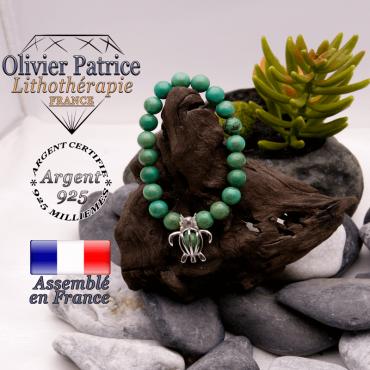 Bracelet turquoise du Tibet et sa cage tortue en argent 925