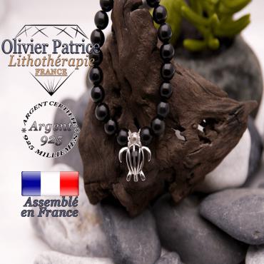 Bracelet onyx et sa cage tortue en argent 925
