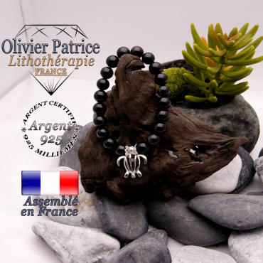 Bracelet obsidienne et sa cage tortue en argent 925