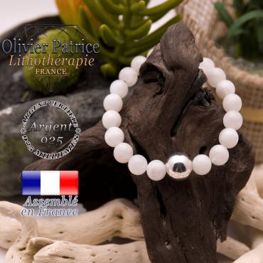 Bracelet pierre de lune et boule lisse en argent 925 - 12 mm