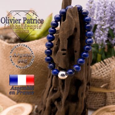 Bracelet lapis lazuli et boule  argent 925 - 10 mm