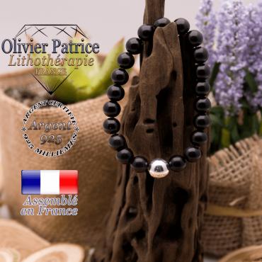 Bracelet obsidienne œil céleste et boule argent 925 - 10 mm