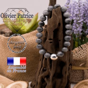 Bracelet pierre d'aigle et sa boule lisse en argent 925 - 10 mm