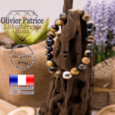 Bracelet Œil de faucon et sa boule en argent 925 - 10 mm