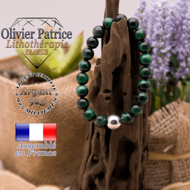 Bracelet Œil de Tigre teinte verte et boule argent 925 - 10mm